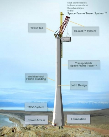 "Link to image of Wind Tower System's Space Frame Towerâ""¢"