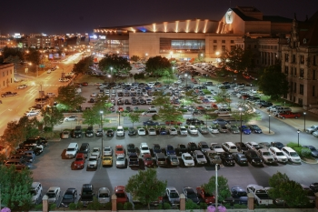 Using money from the Energy Efficiency Block Grant Program, St. Louis installed new LED fixtures in the City Hall parking structure. The new lights deliver more useful light and use nearly 83 percent less power than the previous lights. | Photo courtesy of John Wm Nagel, Photography.