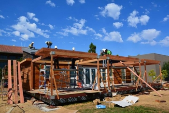 It took six months and nearly 60 students to build Stanford's Start.Home, a house that aims to lower the entry barrier for an ultra-efficient house and make sustainability trendy.   Photo courtesy of Stanford.