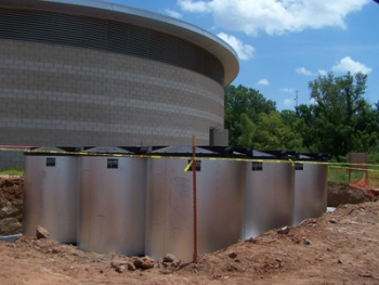 Ice storage coolers lie next to the central plant for the American Indian Cultural Center and Museum in Oklahoma City, OK.   Photo courtesy of the American Indian Cultural Center and Museum  