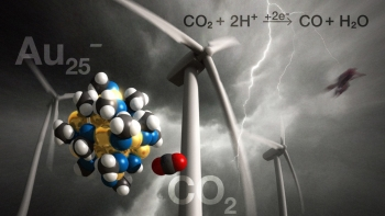 A new chemical process has the potential to reduce atmospheric CO2 emissions by transforming CO2 into fuel and useful chemicals.   Image courtesy of NETL.