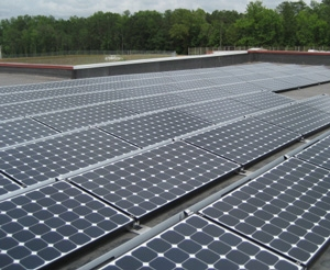 The roof-mounted solar array at the T.K. Davis Justice Center in Opelika, Ala.   Photo courtesy of Lee County Commission