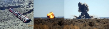 In these 2010 photographs, unexploded ordnance were collected and then detonated onsite at the Mass Detonation Area.
