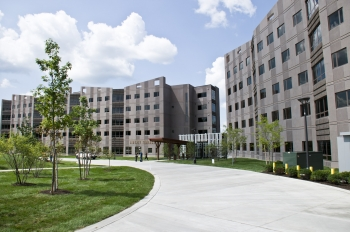 University at Albany's new student housing center, Liberty Terrace, is the school's first LEED Gold certified facility. The building has high-efficiency lighting and uses 45 percent less water than a comparable building. | Photo courtesy of the University at Albany.