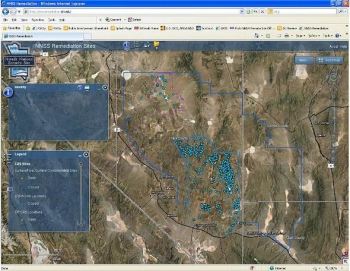 Shown here is a screenshot of the interactive map, which makes Nevada National Security Site data more accessible to the public.
