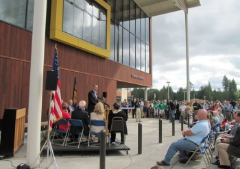 "The community of Vernonia, OR, celebrates the opening of a new energy efficient school. | Photo courtesy of <a href=""http://www.opb.org/news/slideshow/vernonia-high-school/"">April Baer, OPB</a>."