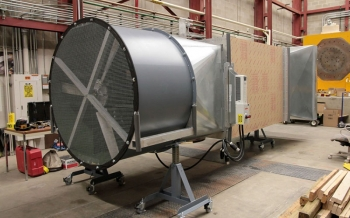This wind tunnel constructed by NREL engineers will test the small wind turbines designed by 10 university teams competing in DOE's Collegiate Wind Competition.