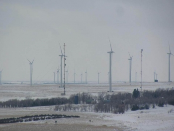 South Dakota Wind Partners purchased seven of the 108 wind turbines at the PrairieWinds complex.   Photo courtesy of Jeff Nelson, East River Electric Power Cooperative
