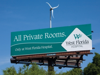 A wind turbine tops a Lamar Advertising billboard in Pensacola, Florida | Photo courtesy of Karena Cawthon