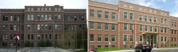 Before (left) and after photo of historic Wunder Hall, where Milwaukee's Forest County Potawatomi Community completed a major energy upgrade project. The building now serves as the tribe's economic development center.   Courtesy of Forest County Potawatomi Community