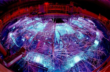 The Z machine, the largest X-ray generator in the world, is located in Albuquerque, New Mexico. As part of the Pulsed Power Program, which started at Sandia National Laboratories in the 1960s, the Z machine concentrates electrical energy and turns it into short pulses of enormous power, which can then be used to generate X-rays and gamma rays. Click on the image for a full size version. | Photo credit: Randy Montoya/Sandia National Laboratories.
