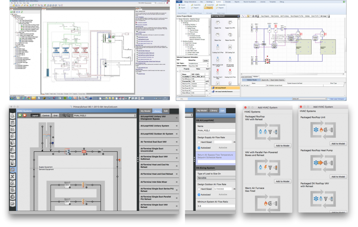 Energyplus Graphical User Interfaces Like Designbuilder Top Left Simergy Right