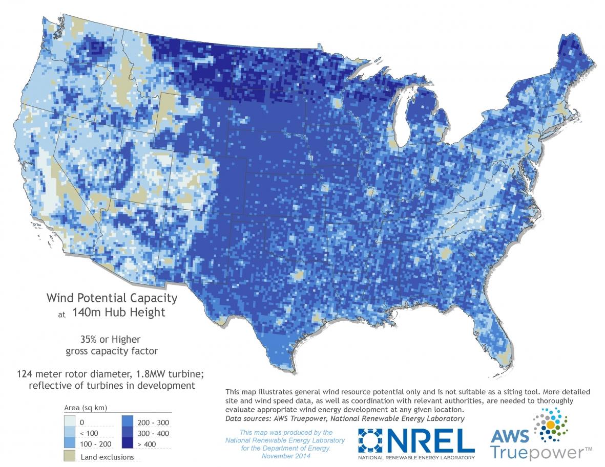 Mapping The Frontier Of New Wind Power Potential Department Of - Land height