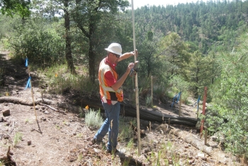 The cleanup site was carefully surveyed using state of the art landscape survey instruments prior to soil removal.