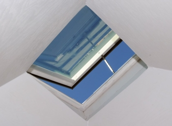 A skylight can provide lighting, ventilation, views, and sometimes emergency egress. | Photo courtesy of Thomas Kelsey/U.S. Department of Energy Solar Decathlon