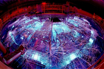 The Z machine is located in Albuquerque, N.M., and is part of the Pulsed Power Program, which started at Sandia National Laboratories in the 1960s. Pulsed power is a technology that concentrates electrical energy and turns it into short pulses of enormous power, which are then used to generate X-rays and gamma rays. | Photo courtesy of Sandia National Laboratory.