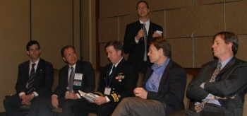 """Dr. Ardaiz (far left), CMO, participating in the 2011 """"Late Breaker"""" session of the American Occupational Health Conference (AOHC), the annual gathering of Occupational Medicine's leading practitioners, discussing the health concerns associated with the Fukushima Daiichi disaster in Japan in March of 2011."""