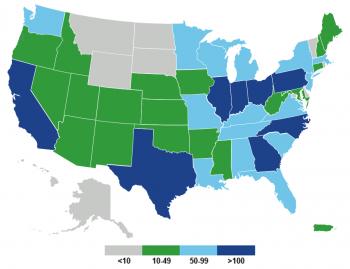 Regional distribution of Better Plants partner facilities.