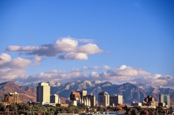 """Salt Lake City, the capital of Utah, blends snowy mountain ranges with an urban downtown. Known historically as the """"Crossroads of the West,"""" Salt Lake City today is a major economic center in the Great Basin and a hub of tourism. │ Photo courtesy of University of Utah Department of Mathematics."""
