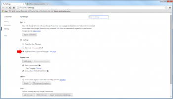 """STEP 3: Once the Setting page loads, go to the """"ON STARTUP"""" section (highlighted with red arrow).  Select """"Open a specific page or set of pages"""". (Notice the phrase """"set of pages"""",  means to set MULTIPLE pages which will be opened in separate tabs when launching the Google Chrome browser)."""