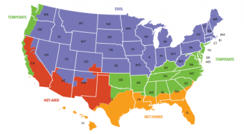 This map shows the four broadest categories of climate zones for the lower 49 United States. Understanding your climate zone can help you determine the best energy-saving landscaping strategies for your home.