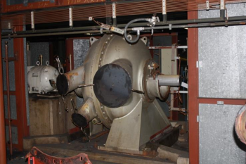 As part of deactivation efforts, process gas equipment is being removed from gaseous diffusion plant buildings.