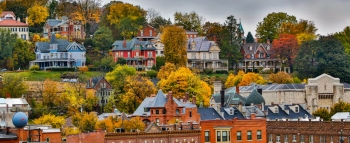The City of Dubuque, Iowa, features a rich history, a diverse arts and cultural scene, and abundant natural beauty, including majestic limestone bluffs along the Mississippi riverfront. Sustainability is among the city's top priorities for the future.  | Photo courtesy of the City of Dubuque.