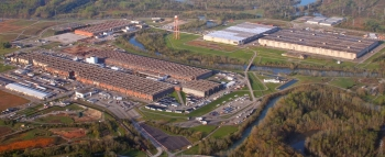 An aerial view of East Tennessee Technology Park prior to demolition.