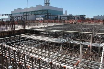 The Pretreatment Facility control room building pad (foreground) and the Low-Activity Waste Facility (background)