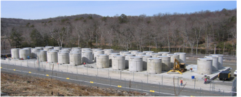 Independent Spent Fuel Storage Installation (ISFSI) at the shutdown Connecticut Yankee site.  The ISFSI includes 40 multi-purpose canisters, within vertical concrete storage casks, containing 1019 used nuclear fuel assemblies [412.3 metric ton heavy metal (MTHM)] and 3 canisters of greater-than-class-C (GTCC) low-level radioactive waste.  Photo courtesy of Connecticut Yankee (http://www.connyankee.com/html/fuel_storage.html).
