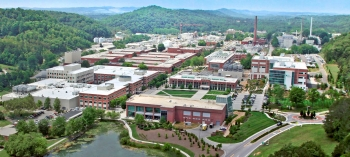 An aerial view of the Oak Ridge National Laboratory campus.
