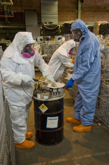 Recovery Act workers at Alpha 5 at the Y-12 National Security Complex at Oak Ridge, Tenn., survey waste as part of the characterization process to determine its proper disposition path