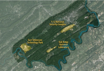 A view of the 33,000-acre Oak Ridge Reservation, with its three major sites highlighted--the East Tennessee Technology Park, Y-12 National Security Complex, and Oak Ridge National Laboratory.