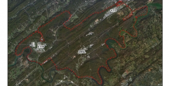 The 33,500-acre Oak Ridge Reservation, outlined in red, contains three primary cleanup areas-- the East Tennessee Technology Park, Oak Ridge National Laboratory, and Y-12 National Security Complex.
