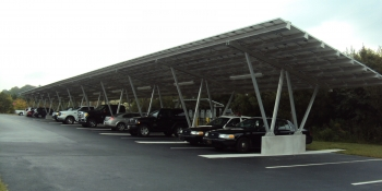 With a grant from the Energy Department's Energy Efficiency and Conservation Block Grant Program, the community of Ocean View, Delaware, installed a carport-mounted solar array that is saving taxpayers money on town utility bills. | Photo courtesy of the Town of Ocean View.