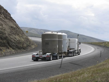 A transuranic waste shipment travels on an approved shipping route to the Waste Isolation Pilot Plant