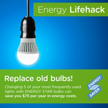 Replace frequently used bulbs with more energy efficient options to save money and energy.