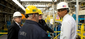 Secretary Moniz and President Obama tour ArcelorMittal's steel plant in Cleveland, Ohio, which produces materials that are helping vehicles become more fuel efficient. | Photo courtesy of the White House.