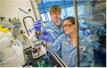Entrepreneurial researcher Raymond Weitekamp and team member Corinne Allen utilize the resources at Lawrence Berkeley National Laboratory's Molecular Foundry to analyze sustainable advanced materials. Weitekamp was selected to be part of Cyclotron Road, the founding program of the Lab-Embedded Entrepreneurship Programs.