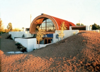 This house in Tempe, Arizona, uses earth-sheltered construction methods to help decrease cooling costs.   Photo by Pamm McFadden