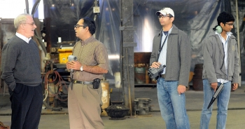 Conferring with plant staff during an assessment.<br /><em>Courtesy of WVU</em>