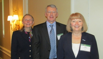 The 2013 Peer Review opened on April 22, with a plenary session. Pictured onstage are Kate Baker (left), Peer Review Chairwoman; Douglas Hollett, former GTO Director; and Bobi Garrett, Deputy Laboratory Director, National Renewable Energy Laboratory.