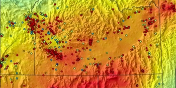 The Energy Department featured Play Fairway Analysis at the 2015 Geothermal Technologies Office Peer Review, with data visualizations like this heat flow map from the Utah State University.