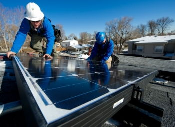 When choosing a contractor, ask about their work record, experience, and licenses, and get more than one bid for the installation of your PV system. | Photo courtesy of Dennis Schroeder, NREL.