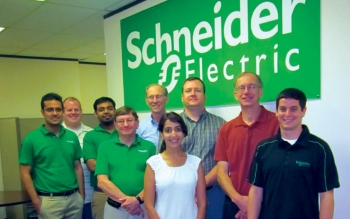 Members of the TEC team (from left to right): Aman Khippal, Wade Willatt, Anoop Alex, Walter Hendrix, Joseph Dorey, Bimaldeep Kaur, Jacob Freeman, Carl Castellow, and Matan Marom.<br /><em>Courtesy of Schneider Electric</em>