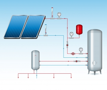 Illustration of a solar water heater.