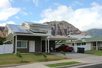 All Kaupuni Village homes in Oahu, Hawaii, incorporate energy efficiency and renewable energy technologies to produce as much energy as they consume. Credit: Kenneth Kelly, NREL.