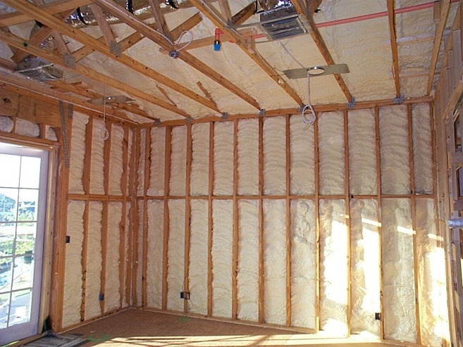 Spray foam insulation fills the nooks and crannies in the walls of this  energy-efficient