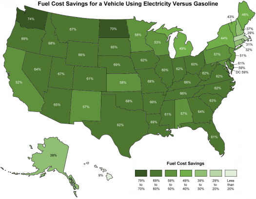 Map Of The U S Showing Fuel Cost Savings For A Vehicle Using Electricity Versus Gasoline