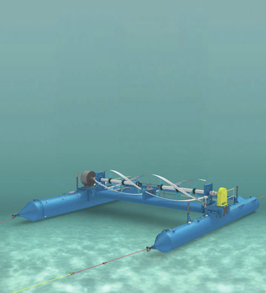 A graphic of the RivGen Power System installed on the bed of the Kvichak River, operating completely underwater and invisible from the surface.